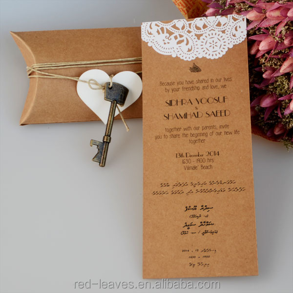 New Style Kraft Paper Card Handmade Invitations Decorating Wedding Satin Scroll
