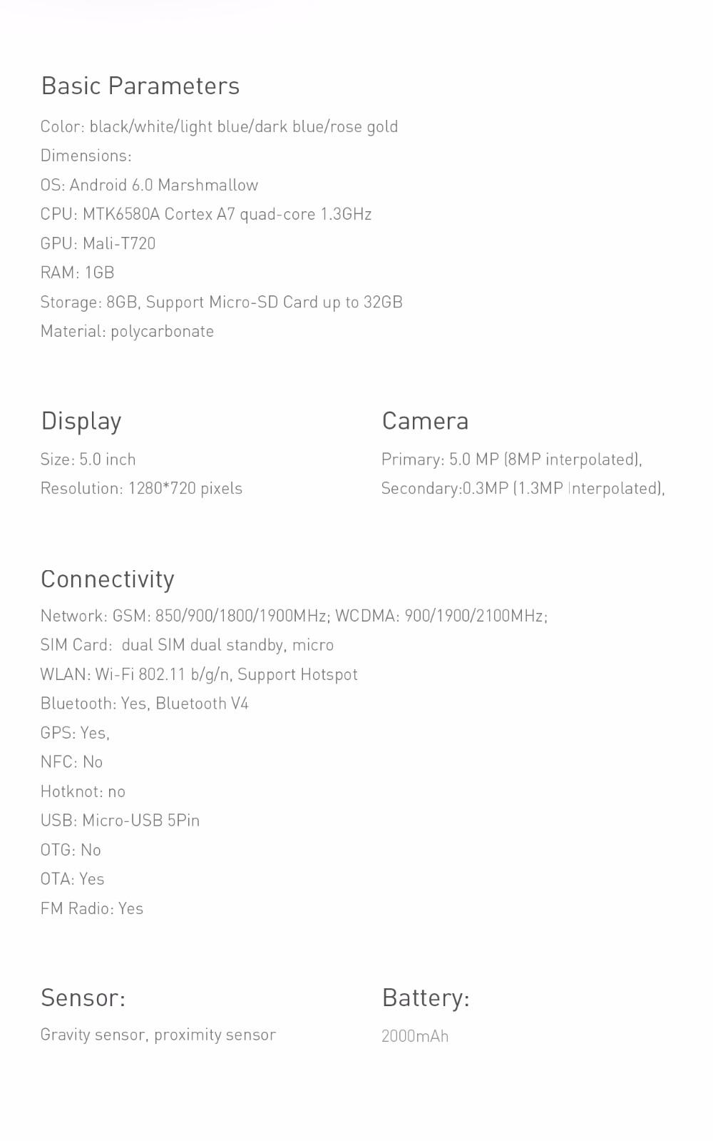 Original Oukitel C3 Mobile Phone Android 6.0 Mt6580 Quad