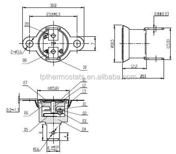 T1/33 water boiler auto reset bimetal thermostat, View