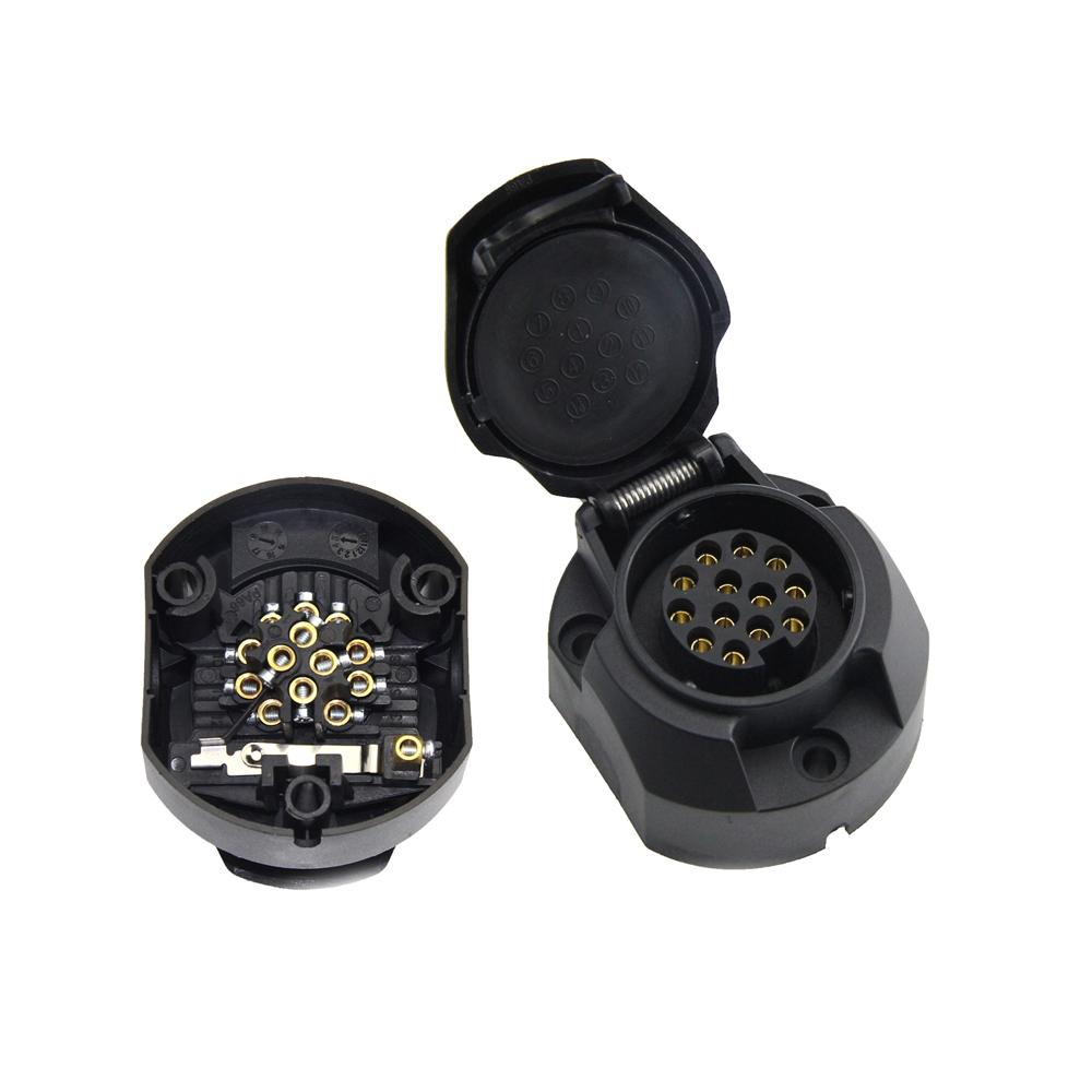medium resolution of 12v 24v 7 pin 1 large round plastic trailer coupling socket trailer wiring adapters 7x7x5cm