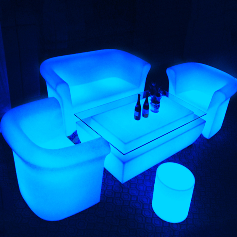 led table and chairs thomas train chair portable plastic light up outdoor furniture bar set