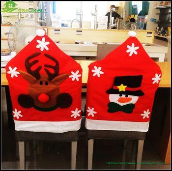 chair covers xmas grey velvet slipper fancy snowman reindeer santa claus design felt christmas cover for season gifts