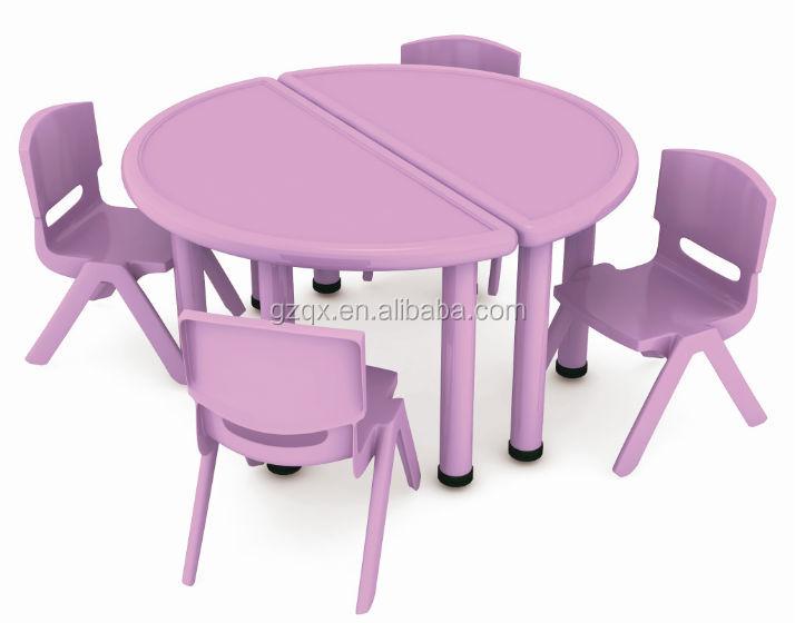 Purple Semicircle Kids Study Table Design / Kids Plastic