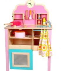 Toy Kitchen Sets Table And Chair Set Children Pink Simulation Toys Wooden Pretend Play
