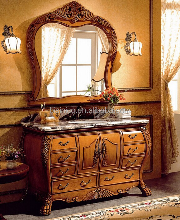Luxury Hand Carved Wooden Bathroom Vanity SetVictorian