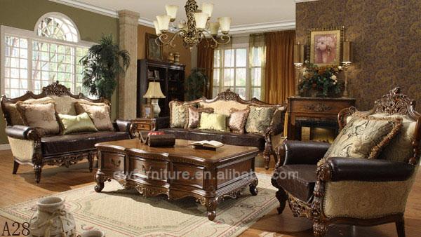 antiguo estilo americano slido de madera clsica sala de estar con conjuntos de cuero y sof de