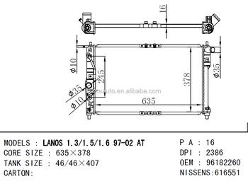 Dpi 2386 Oem 96182260 For Daewoo Lanos 1.3/1.5/1.6 97-02