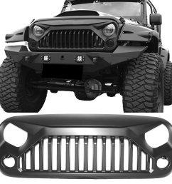 grille fits 2007 2018 jeep wrangler jk jku v2 topfire angry bird gladiator style [ 1000 x 1000 Pixel ]