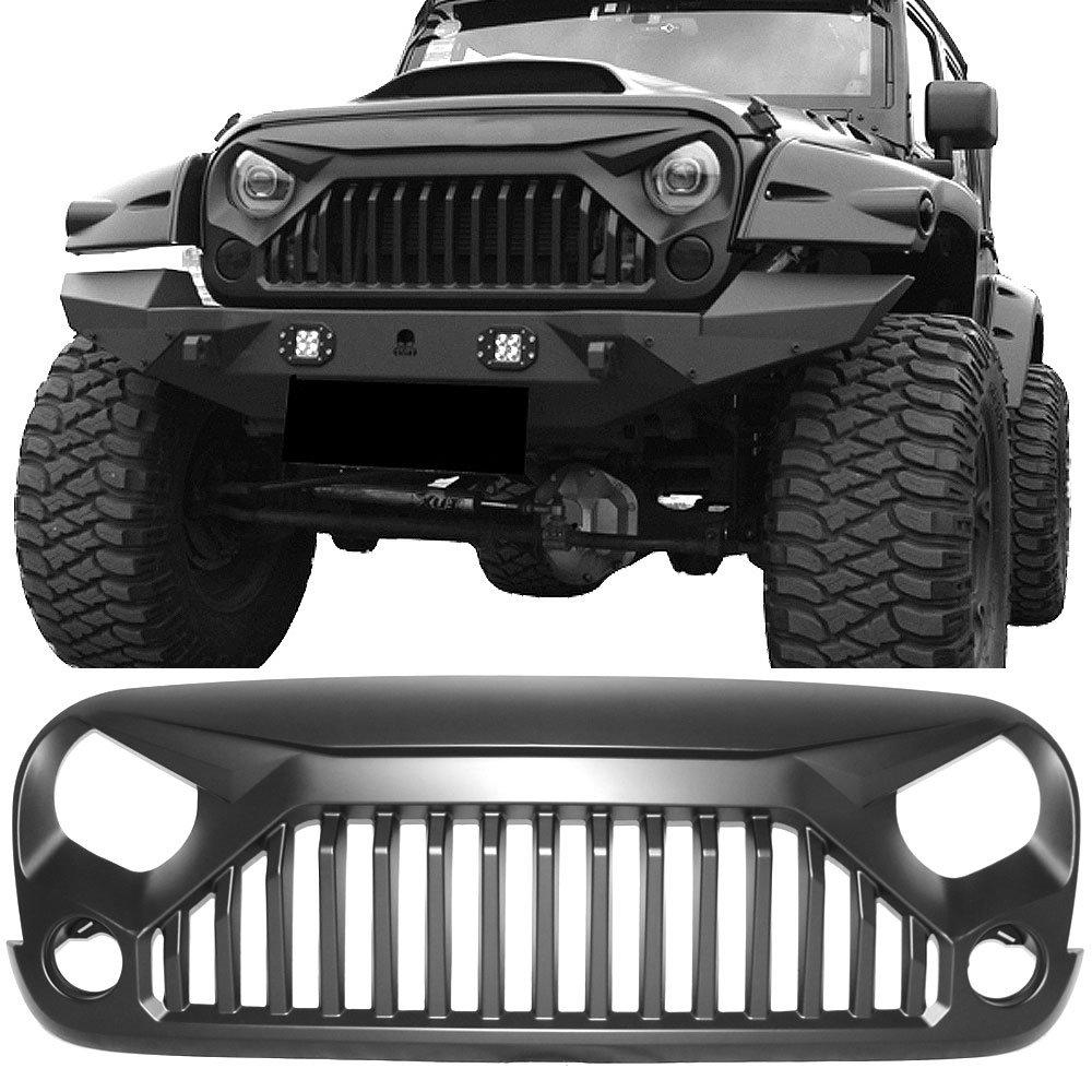hight resolution of grille fits 2007 2018 jeep wrangler jk jku v2 topfire angry bird gladiator style