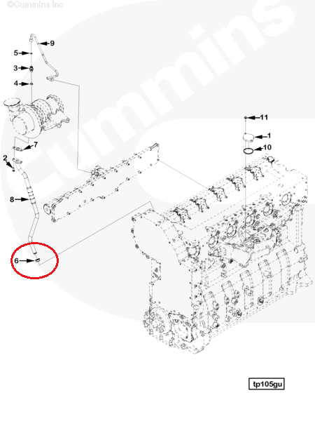 3678762 Cummins Engine Isx Qsx15 Turbocharger Oil Drain