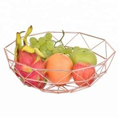Kitchen Fruit Basket Table Rug Storage Rose Gold Wire Metal Food Display Buy