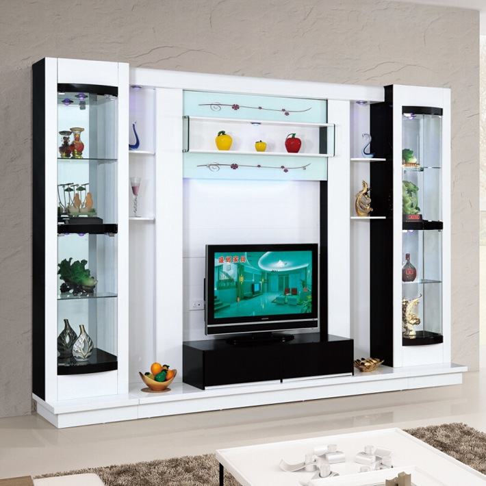 Latest Design Diy Modern Tv Wall Unit 012# Wood Led Tv