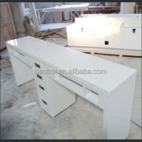 High Gloss White Lacquer Nail Table Wood Manicure Table ...