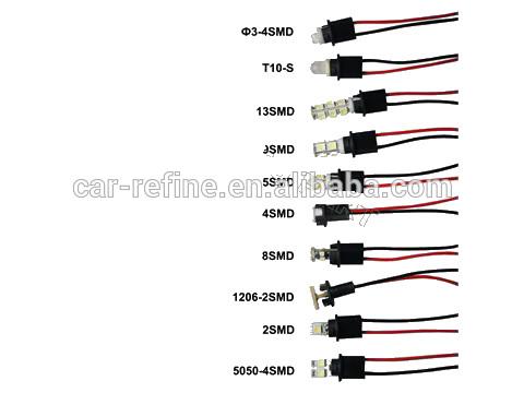 t10 socket led t10 w5w 194 5050 light lâmpada de cabos