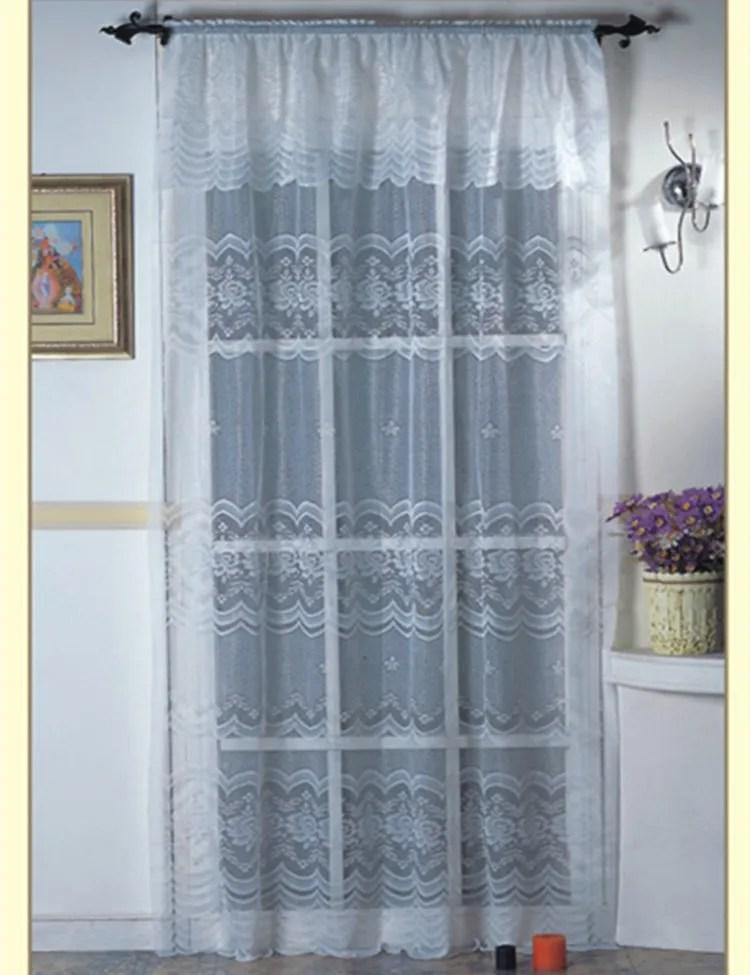 rideau pur en dentelle florale blanche tricote nouveau voile elegant avec valance nouee pour le salon buy rideaux et cantonnieres de salon rideaux