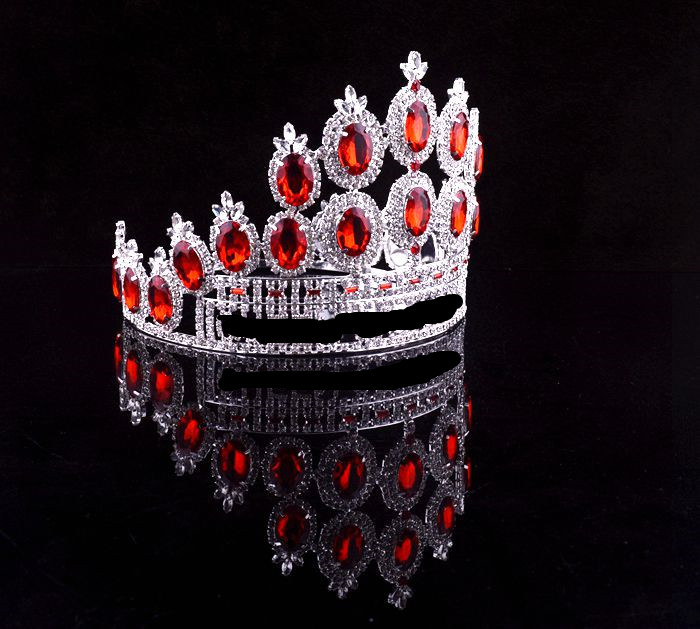 Beauty Queen Metal Silver Plated Red Diamond Pageant Crown