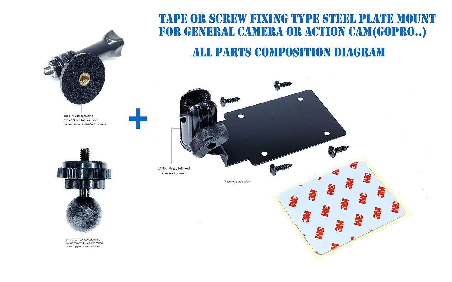 hight resolution of rectangular steel plate shape simple assembly type wall mount ceiling mount with a ball head compression