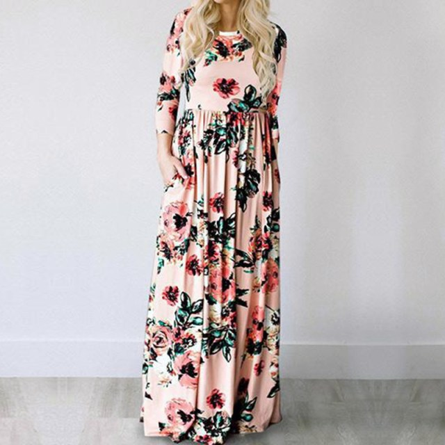 Pink color of GVN Rocks Floral Boho Summer Maxi Dress