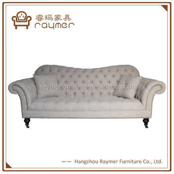 french linen tufted sofa mah jong modular copy white chesterfield wing arm button provincial