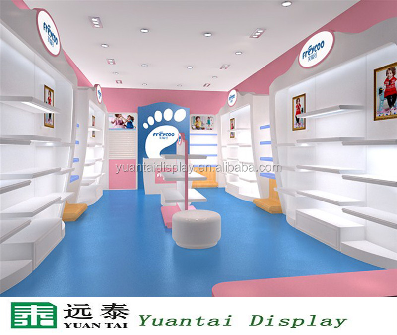Customized Mdf Kids Shoes Display Cabinet Decoration For