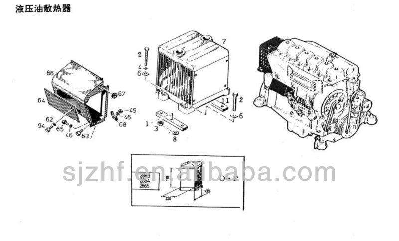 eutz diesel engine spare parts f4l912 hydraulic oil heat