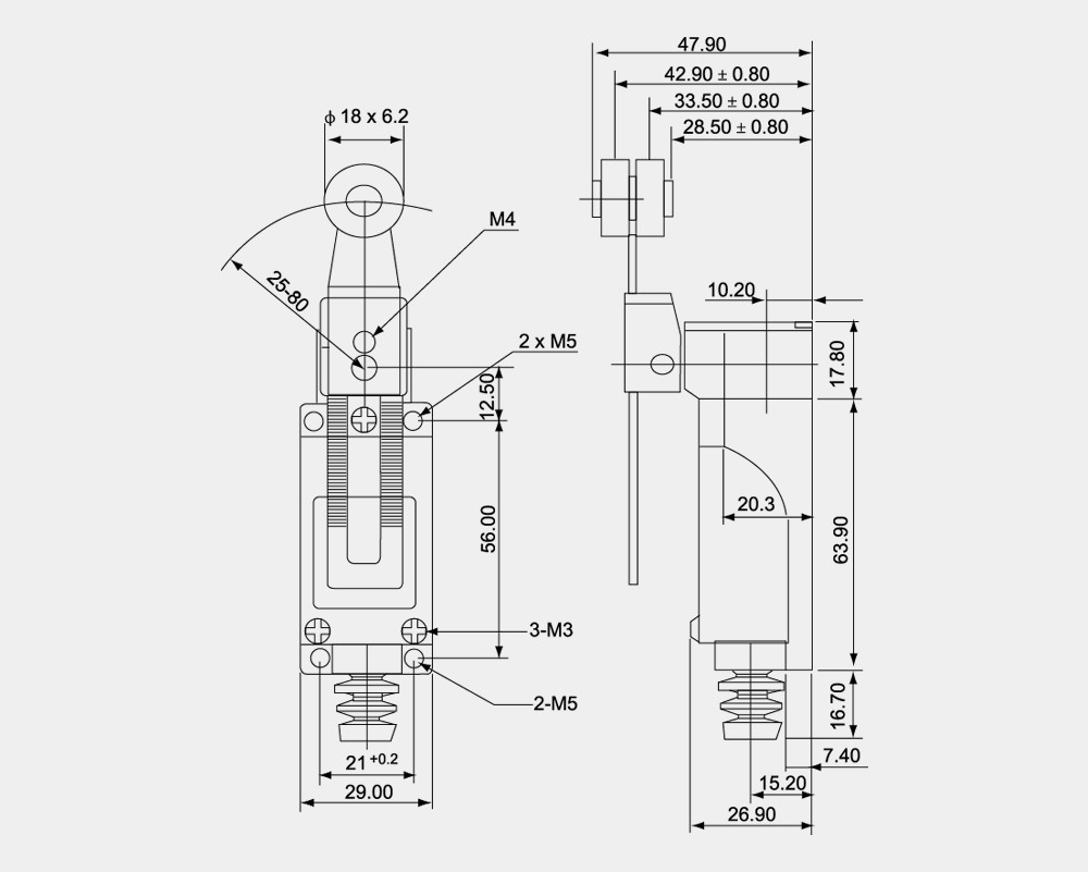 Iec 60947-5-1 Mini Limit Switch Xz-5 Series China Supplier