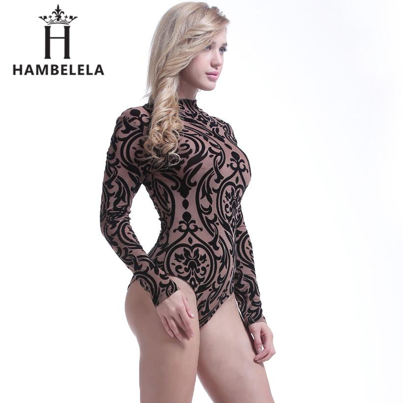 HAMBELELA See Through Sexy Bodysuit Women Rompers Bodycon Jumpsuit  Transparent Bodysuits Women Long Sleeve Mesh Bodysuit 31a8392ff