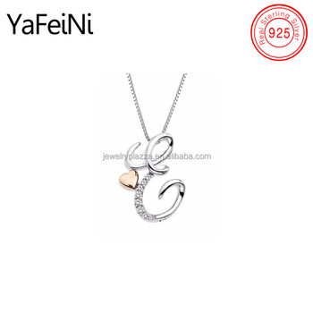 Simple Design Two Tone Solid Heart Initial Letter Diamond