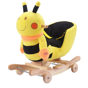 plush animal rocking chairs high back for living room baby kids toy yellow bee chair rider toddler seat wood rocker w