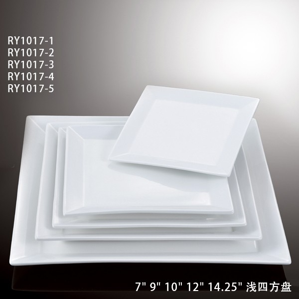 White Porcelain Crockery Square Dinner Plate For Star