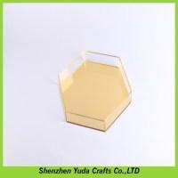 Golden Mirrored Plexiglass Display Trays Custom Hexagon