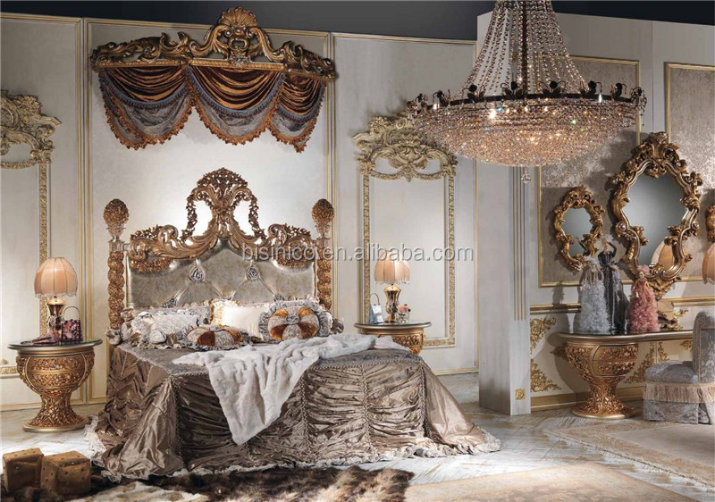 New Classic Italy Style Royal King Size Bed Luxury Crown