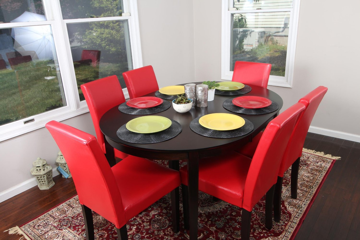 Red Leather Dining Room Chairs Buy Red Leather 7pc Oval Solid Top Dining Table Contemporary
