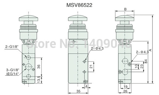 Gogo 5 Way Pneumatic Air Hand Operated Control Valves 1/4