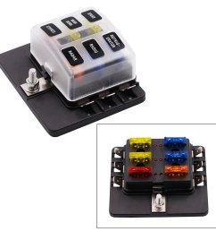 toogoo 6 way spade terminal blade fuse box holder with led light kit for car boat [ 1500 x 1500 Pixel ]