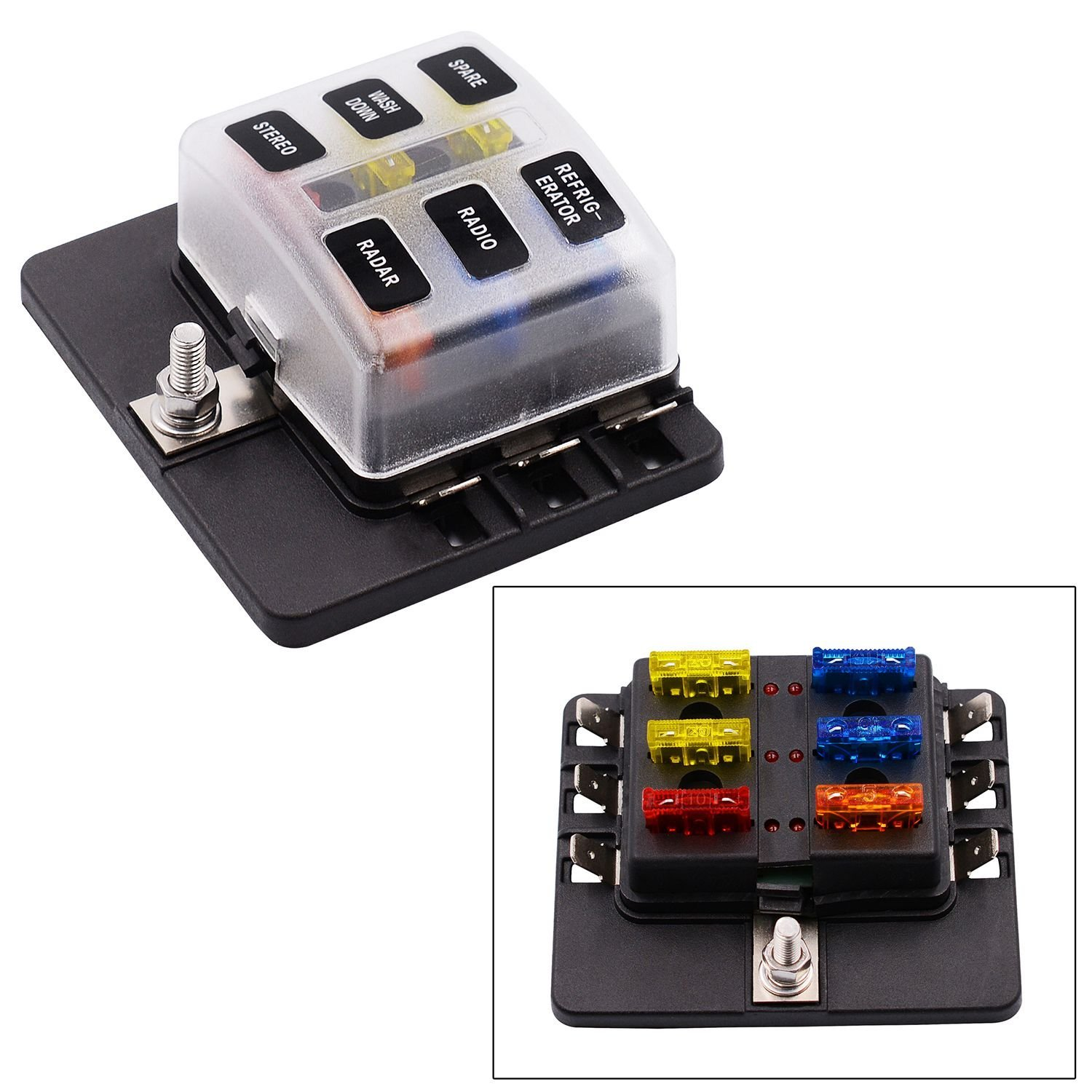 hight resolution of toogoo 6 way spade terminal blade fuse box holder with led light kit for car boat