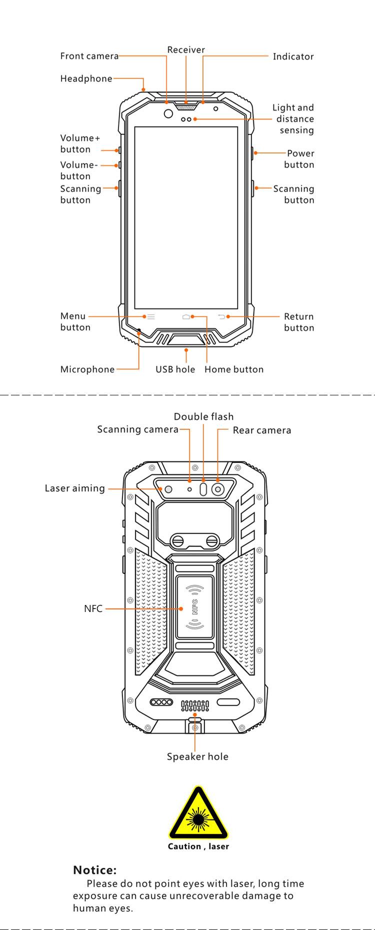 5200amh Battery Ip68 Rugged Portable Data Terminal 2d