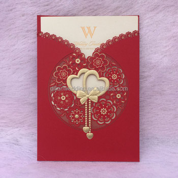 Laser Cut Double Heart Design Chinese Wedding Invitation Card