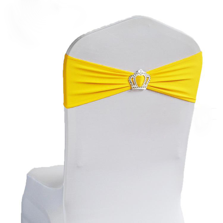 yellow spandex chair sashes dining room sets buy free shipping 100pcs elastic stretch bow lycra cover bands with crown buckle for wedding in cheap price on alibaba com