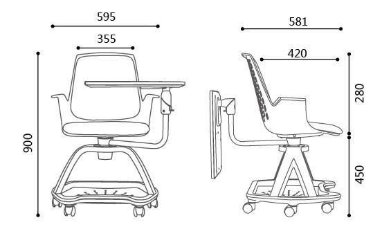 Modern Design Comfortable Plastic Study School Chair With
