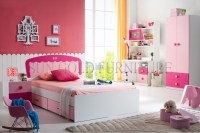 Lastest Single Bed Design Pink Girls Fancy Bedroom Set (sz ...