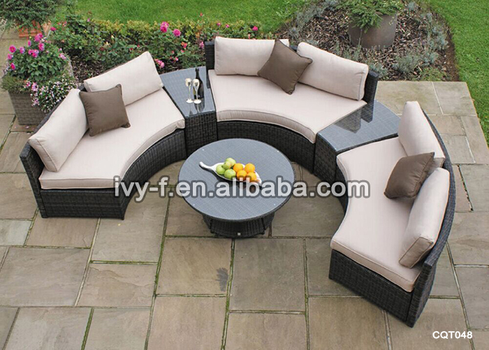 Garden Synthetic Wicker Furniture Half Moon Sectional Sofa