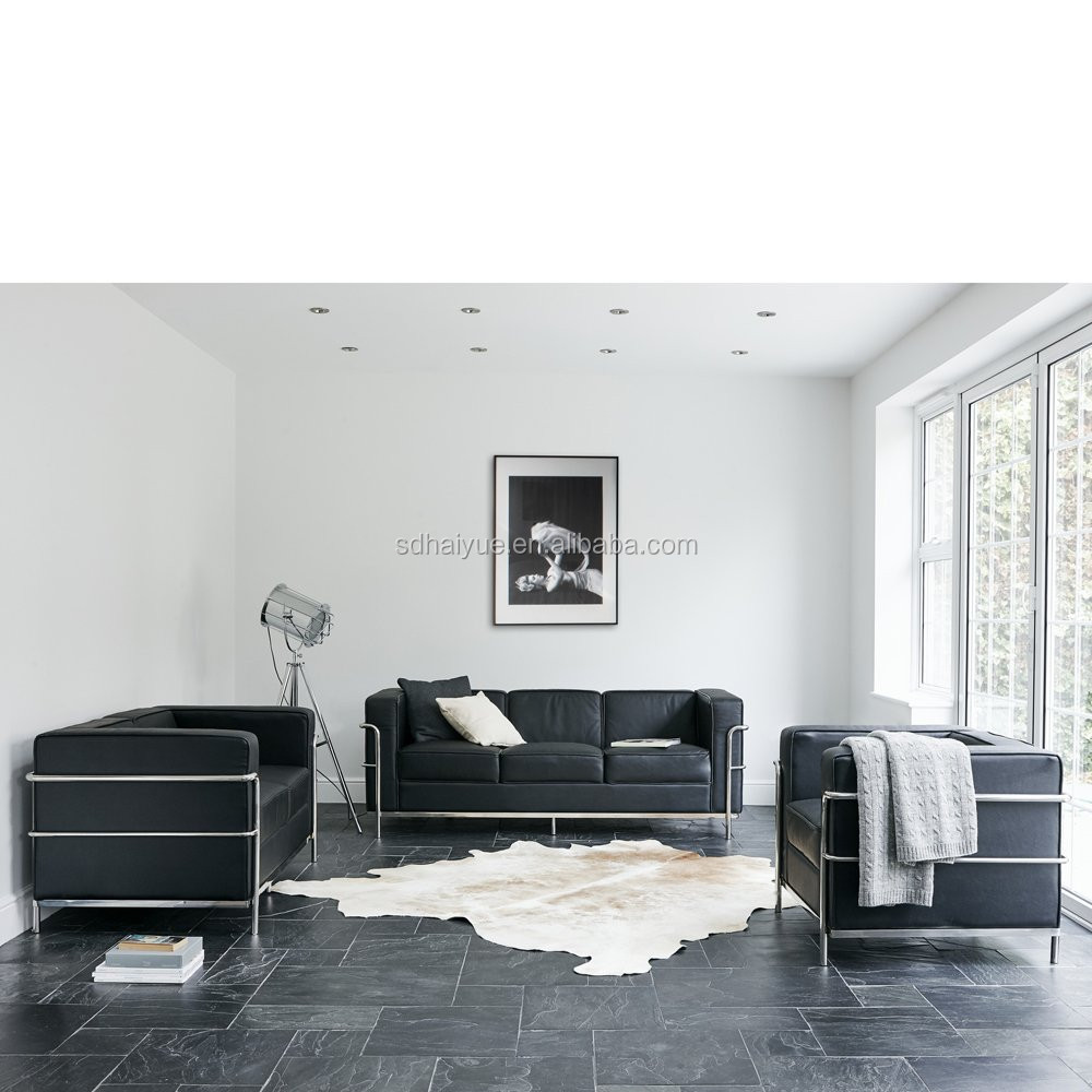 black sofa white furniture top rated full size sleeper factory direct sale replica le corbusier lc2 comfort ...