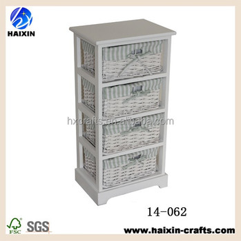 White Wicker Chest Of Drawers Wooden Cabinet For Bedroom