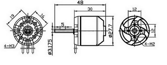 Customized 2830 1500kv Outrunner Brushless Motor For