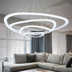 Led Lighting For Living Room Blue Chairs Time New Modern Pendant Lights Dining Circle Rings Acrylic