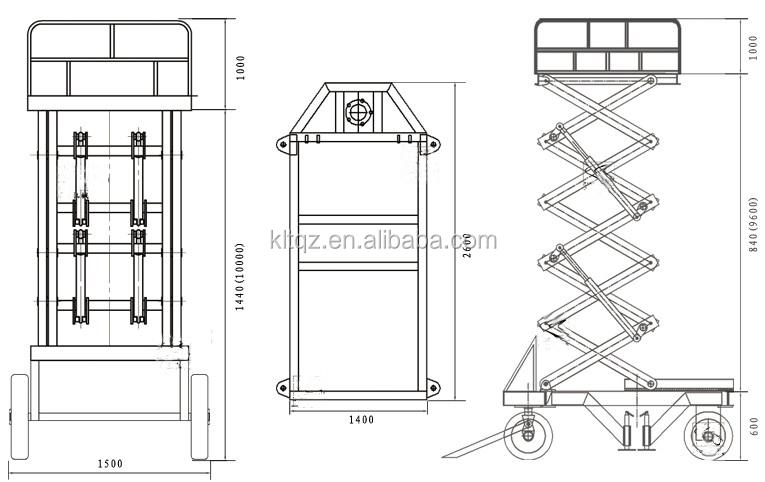 Manual Pull Hydraulic Electric Scissor Lift Table 2 Ton