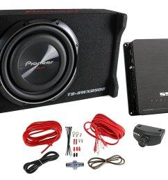 get quotations pioneer 10 inch 1200 watt sub shallow mount subwoofer mono amp wiring kit [ 1500 x 1099 Pixel ]