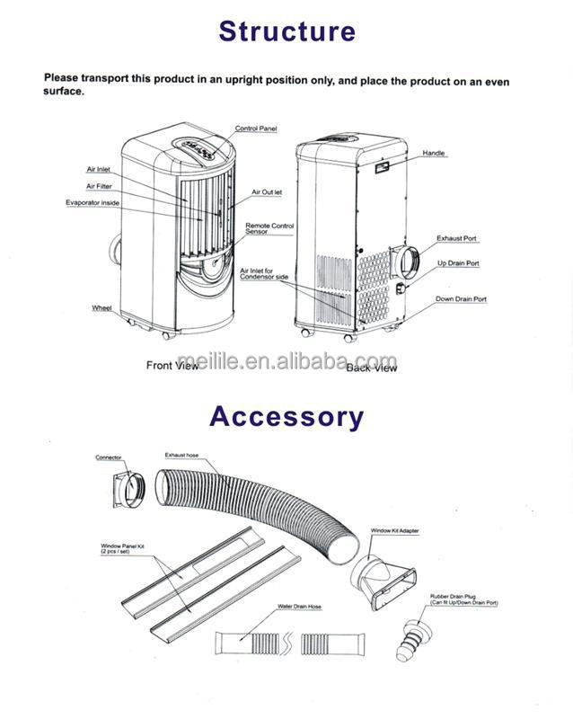 Popular portable air conditioner 9000BTU mobile remote air