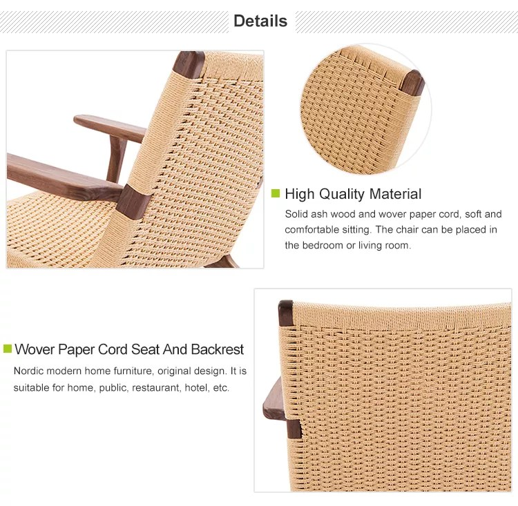 nordic style ash solid wood natural rattan chair danish or knitted paper handle cord chaise lounge chairs buy ratten chair paper cord chairs danish